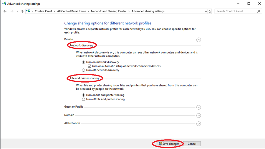 Control Panel's Network and Sharing Center Settings.